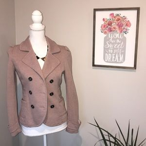 Mauve double breasted jersey style blazer